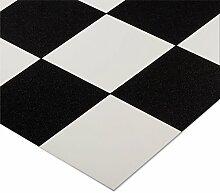 casa pura® CV Bodenbelag Damier | Schwarz Weiß kariert | edle Fliesenoptik | Oberfläche strukturiert | Meterware (200x700cm)