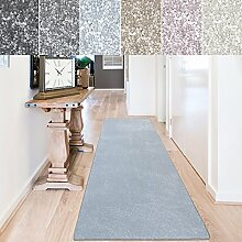 casa pura Teppich Läufer Sundae | Meterware | Teppichläufer für Wohnzimmer, Flur, Küche usw. | kuschlig weich | mit Stufenmatten kombinierbar (Hellblau - 80x300 cm)