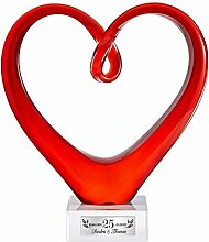 Casa Vivente Herz aus Glas – Rotes Glasherz als