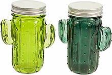 Casablanca 2er Set Dekoleuchte Kaktus Glas grün