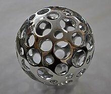 Casablanca Dekokugel Holes Poly silber glänzend 8cm Durchmesser 59369 Dekoidee Geschenkidee Hochzeit Wohndeko Tischdeko