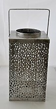 Casablanca Laterne Purley 50cm Metall silber 74443 Dekoidee Sommer Winter Geschenkidee Wohndeko