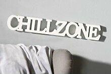Casablanca Schriftzug 'Chillzone' aus Holz weiss 48x8cm Deko Sommer Blickfang Geschenkidee 71558
