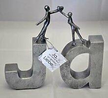 Casablanca Schriftzug ja Poly silber 22-23cm hoch 79092 Geschenkidee Hochzeit Sommerprospekt 2015 Skulptur Liebe Hochzeitstag