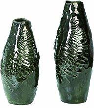 Casablanca Vase mit Farndekor grün Keramik H30cm