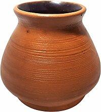 Casadamia Calabaza Premium Becher aus Ton für Mate-Tee & Yerba Mate   Trink-gefäß & Mate-tasse von innen glasiert   200 ml (YM001) braun