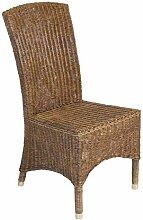 casamia Rattan-Stuhl mit Messingfußkappen matt,