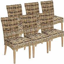 casamia Rattan-Stuhl Set 6 Stück Esszimmerstuhl