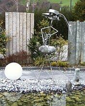 Casanova Angler Gartenfigur und Gartendeko als Steinvogel aus Edelstahl und Stein XXL Eisenfigur ca 150 cm Design Tiedemann