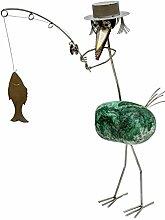 Casanova Angler Steinvogel bzw. Edelstahlvogel aus Edelstahl und Stein ein schöner Gartenvogel die besondere Art der Gartendeko Größe M 40 cm