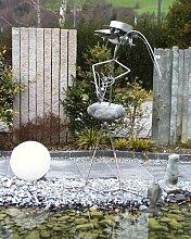 Casanova der Anler XXXl ca. 190 cm Steinvogel als Gartendekoration, Gartenfigur, Gartendeko, Edelstahlvogel nicht rostend mit Naturstein (Kein Stein ist wie der Andere Abweichungen vom Foto sind Normal)