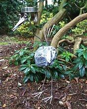 Casanova mit Bewegungsmelder Größe X ca. 120 cm Steinvogel als Gartendekoration, Gartenfigur, Gartendeko, Edelstahlvogel nicht rostend mit Naturstein (Kein Stein ist wie der Andere Abweichungen vom Foto sind Normal)