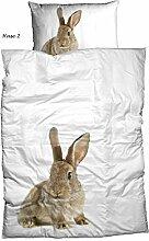 Casatex Baumwolle Renforce Bettwäsche Set HASE mit Reißverschluss 1x 135x200 Bettbezug + 1x 80x80 Kissenbezug