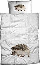 Casatex Renforcé Bettwäsche Igel weiß/braun 155x220 cm + 80x80 cm
