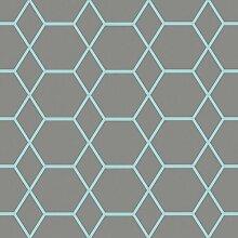 Casca Geometrische Tapete Charcoal/Blau Muriva