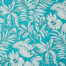 CASELIO 65157170Tapete tropischen Blumen und Blätter in Farbtöne türkisen