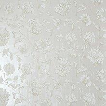CASELIO Pergola 62319090Tapete Romantische Blumen mit creme Farbe Hintergrund und Zeichnungen Khaki und Weiß Gebrochen