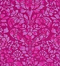 CASELIO Power Tapete, Blumen/Prägung auf rosa Hintergrund