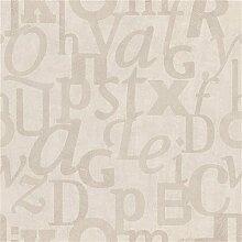 Caselio WRD67121010 WORDS ALPHA BEIGE Vinyltapete