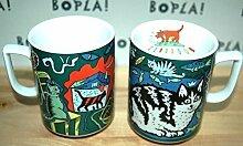 CAT (Grundfarbe grün) KATZE KÄTZCHEN BOPLA! Maxitasse 0,3l Serie WILDLIFE CLASSICS Kaffee- Tee- Glühwein- Becher, Maxi Tasse, Mug, Maxi Taza, Maxi Cup, Maxit Taza 0,3 l, 10-1/2 fl. oz. Einzelgewicht: 302g - Geeignet für alle heißen und kalten Getränke. Ihre Geschenk-Idee zum Sammeln. Platzsparend stapelbar. In verschiedenen Dekoren und Farbvariationen zur Auswahl BOPLA Porzellan kann bunt gemischt werden und es passt immer zusammen. So sieht Ihr Tisch jeden Tag anders, jeden Tag frisch aus. Ein Schweizer Qualitätsprodukt an dem Sie lange Jahre Freude haben werden