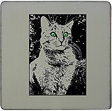 Cat with green eyes hardboard square fridge magne