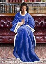 Catalonia, Sherpa-Decke mit Ärmeln, warme Plüsch-Decke aus Mikro-Vlies, flauschige Überwurf-Decke, für erwachsene Damen und Herren, 183cm x 140cm, Microfaser, blau, 183cm x 140cm