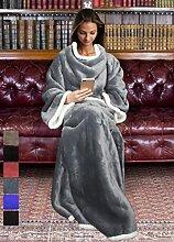 Catalonia, Sherpa-Decke mit Ärmeln, warme Plüsch-Decke aus Mikro-Vlies, flauschige Überwurf-Decke, für erwachsene Damen und Herren, 183cm x 140cm, Microfaser, grau, 183cm x 140cm