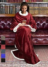 Catalonia, Sherpa-Decke mit Ärmeln, warme Plüsch-Decke aus Mikro-Vlies, flauschige Überwurf-Decke, für erwachsene Damen und Herren, 183cm x 140cm, Microfaser, wein, 183cm x 140cm