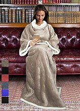 Catalonia, Sherpa-Decke mit Ärmeln, warme Plüsch-Decke aus Mikro-Vlies, flauschige Überwurf-Decke, für erwachsene Damen und Herren, 183cm x 140cm, Microfaser, camel, 183cm x 140cm