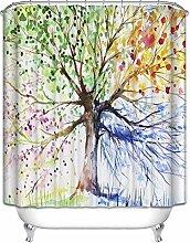 Cateray Bunte Baum Badezimmer Duschvorhang Anti-Schimmel Polyester Duschvorhänge wasserdicht antibakteriell mit 12 Haken (180 x 180cm)