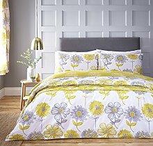 Catherine Lansfield Banbury Gardinen, Floral, Pflegeleicht, gelb, Doppelbe