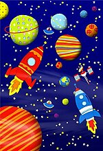 Cathrine Lansfield Kinder Weltall Feature Tapete Wandbild/Holz/mehrfarbig, 1,58x 2,32m