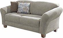Cavadore 2-Sitzer Gootlaand / Landhaus Sofa im Landhausstil / Landhaus Sofa mit Federkern / Maße: 163 x 89 x 84 cm (BxHxT) / Farbe: Hellgrau / Füße: Buche antik