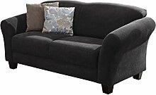 Cavadore 2-Sitzer Gootlaand / Landhaus Sofa im Landhausstil / Landhaus Sofa mit Federkern / Maße: 163 x 89 x 84 cm (BxHxT) / Farbe: Dunkelgrau / Füße: Buche antik
