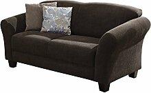 Cavadore 2-Sitzer Gootlaand / Landhaus Sofa im Landhausstil / Landhaus Sofa mit Federkern / Maße: 163 x 89 x 84 cm (BxHxT) / Farbe: Espresso (braun) / Füße: Buche antik