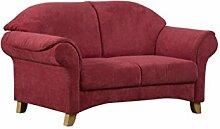 Cavadore 2-Sitzer Maifayr / Wunderschönes Landhaus Sofa im Landhausstil mit Holzfüßen / Landhaus Couch / Maße: 164 x 90 x 90 cm (BxHxT) / Farbe: Bordeaux (weinrot)