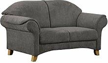 Cavadore 2-Sitzer Maifayr / Wunderschönes Landhaus Sofa im Landhausstil mit Holzfüßen / Landhaus Couch / Maße: 164 x 90 x 90 cm (BxHxT) / Farbe: Fango (dunkelgrau)
