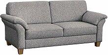 Cavadore 3-Sitzer Boorkumoo im Landhausstil / Landhaus Sofa in grau mit Federkern / Landhaus Garnitur / Füße: Holzfüße Buche natur / Größe: 186 x 87 x 88 cm (BxHxT) / Farbe: Monet Mint Strukturstoff