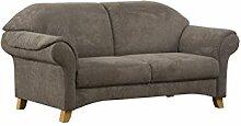 Cavadore 3-Sitzer Maifayr / Wunderschönes Landhaus Sofa im Landhausstil mit Holzfüßen / Landhaus Couch / Maße: 194 x 90 x 90 cm (BxHxT) / Farbe: Schlamm (braun)