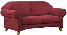 Cavadore 3-Sitzer Maifayr / Wunderschönes Landhaus Sofa im Landhausstil mit Holzfüßen / Landhaus Couch / Maße: 194 x 90 x 90 cm (BxHxT) / Farbe: Bordeaux (weinrot)