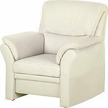 Cavadore 4342 Sessel Klariza, 99 x 102 x 91 cm, Leder Punch kombiniert mit Kunstleder, reinweiß