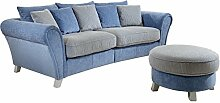 Cavadore Big Sofa und Hocker Calianne / XXL-Couch mit passendem Hocker rund im Landhausstil / Big Sofa: 257 x 87 x 120 cm (B x H x T), Rundhocker: 76 x 43 x 76 cm (B x H x T) /  Materialmix blau - weiß
