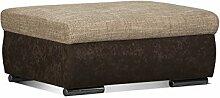 Cavadore Couch Hocker Leriot / Bequemer Sitzhocker, Fußhocker mit Strukturstoff / Größe: 95 x 42 x 72 cm (BxHxT) / Braun - Hellbraun
