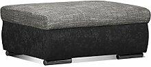 Cavadore Couch Hocker Leriot / Bequemer Sitzhocker, Fußhocker mit Strukturstoff / Größe: 95 x 42 x 72 cm (BxHxT) / Schwarz - Grau