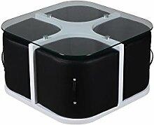 CAVADORE Couchtisch COMPACT / Kleiner Tisch und 4 Kunstleder Hocker in Schwarz / Couch Glastisch Weiß / Couchtisch: 70x41x70cm (BxHxT) / Hocker: 33x33x36 (BxHxT)
