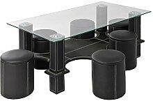 Cavadore Couchtisch Square / Glastisch und 6 schwarze Kunstleder Hocker - platzsparender, praktischer Tisch mit viel Stauraum und bequeme Hocker mit weißen Ziernähten / 130x70x45 cm (LxBxH)