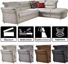 Cavadore Eck-Sofa Bontlei / Federkern-Couch mit