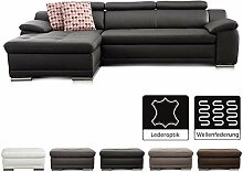 Cavadore Ecksofa Aniamo mit XL-Longchair links /