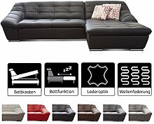 Cavadore Ecksofa Lucas / Kunstleder-Couch mit