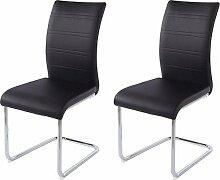 CAVADORE Esszimmerstuhl 2-er Set MARKUS / 2x Stühle in modernem Design mit Griff / Bezug Lederimitat Schwarz / Gestell Metall verchromt / 44 x 96 x 86 cm (B x H x T)